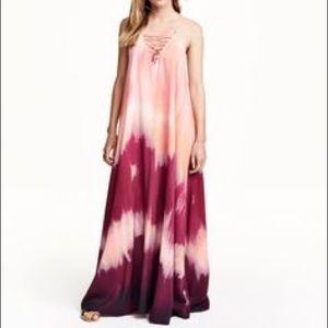 HM pink tie dye watercolor lace up beach dress
